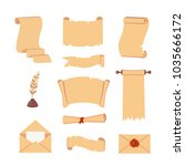 old paper scroll vector set.... | Shutterstock .eps vector #1035666172