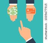 choose between cash and credit... | Shutterstock .eps vector #1035677515