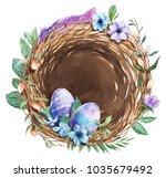 watercolor nest with bird eggs. ...   Shutterstock . vector #1035679492