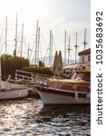 beautiful boats in sun lights... | Shutterstock . vector #1035683692