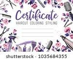 hair cut and rose flower.... | Shutterstock .eps vector #1035684355