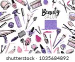 beauty salon  manicure  makeup  ... | Shutterstock .eps vector #1035684892