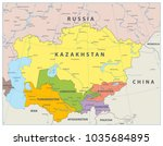 central asia political map.... | Shutterstock .eps vector #1035684895