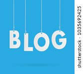 image of blog hanging text... | Shutterstock .eps vector #1035692425
