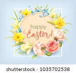easter background with round... | Shutterstock .eps vector #1035702538