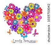 big flowers heart.  girlish... | Shutterstock .eps vector #1035703042