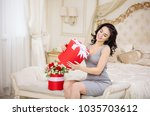 beautiful young woman with... | Shutterstock . vector #1035703612