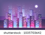 night city skyline with neon... | Shutterstock .eps vector #1035703642