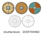 set wood round shields with... | Shutterstock .eps vector #1035704482