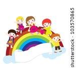 happy children with rainbow ... | Shutterstock .eps vector #103570865