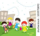 happy children going to school... | Shutterstock .eps vector #103570892