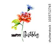 colorful wild flowers with... | Shutterstock . vector #1035712765