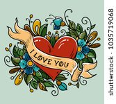holiday card for valentines day.... | Shutterstock .eps vector #1035719068