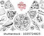 italian pizza and ingredients... | Shutterstock .eps vector #1035724825