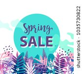 spring sale banner. vector... | Shutterstock .eps vector #1035730822