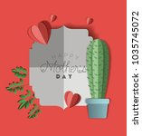 happy mothers day with cactus... | Shutterstock .eps vector #1035745072