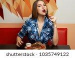 beautiful sexy female model... | Shutterstock . vector #1035749122