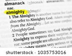 "Small photo of Highlighted English word ""almighty"" and its definition in the dictionary."