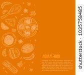 indian cuisine food design with ... | Shutterstock .eps vector #1035758485