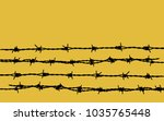 Barbed Wire On Yellow Background