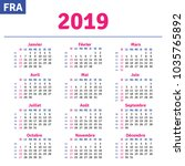 french calendar 2019 ... | Shutterstock .eps vector #1035765892