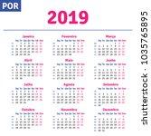 portuguese  brazilian  calendar ... | Shutterstock .eps vector #1035765895