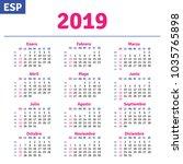 spanish calendar 2019 ... | Shutterstock .eps vector #1035765898
