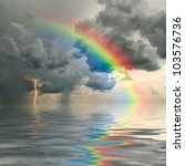 colorful rainbow over ocean ... | Shutterstock . vector #103576736