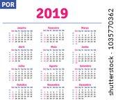 portuguese  brazilian  calendar ... | Shutterstock .eps vector #1035770362