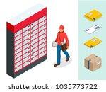 isometric set of post office ... | Shutterstock .eps vector #1035773722