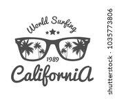 vintage emblem. for surfer club   Shutterstock .eps vector #1035773806