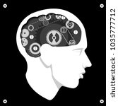 head with gears brain storming... | Shutterstock .eps vector #1035777712