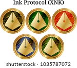 set of physical golden coin ink ... | Shutterstock .eps vector #1035787072