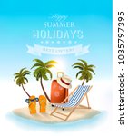 beach with palm trees and beach ... | Shutterstock .eps vector #1035797395