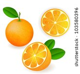 fresh orange fruits with leaves | Shutterstock . vector #103580396