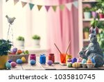 happy easter  background with... | Shutterstock . vector #1035810745