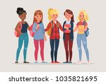young women student character... | Shutterstock .eps vector #1035821695