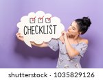 checklist with young woman... | Shutterstock . vector #1035829126