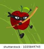 apple ninja cartoon | Shutterstock .eps vector #1035849745