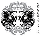two winged heraldic dragon and... | Shutterstock .eps vector #1035859888