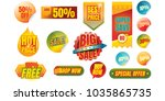 set of promotional badges and...   Shutterstock .eps vector #1035865735