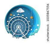 cartoon paper landscape. ferris ... | Shutterstock .eps vector #1035867556