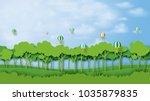 green silhouette forest... | Shutterstock .eps vector #1035879835