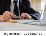 businessman giving money while... | Shutterstock . vector #1035883492