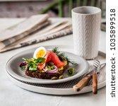 smorrebrod  danish open... | Shutterstock . vector #1035899518