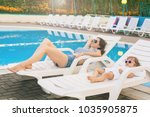 endless summer. cute baby and... | Shutterstock . vector #1035905875