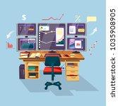 vector cartoon trader ... | Shutterstock .eps vector #1035908905