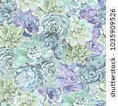 pattern succulents watercolor | Shutterstock . vector #1035909526