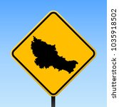 belle ile map road sign. square ... | Shutterstock .eps vector #1035918502