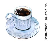 watercolor cup of morning tea | Shutterstock . vector #1035925246